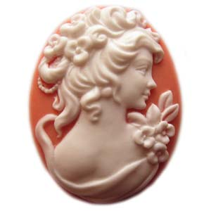 Cameo Cabochon - Acrylic 40x30mm Oval Profile of Lady (Style 2) - White on Coral Colour x1
