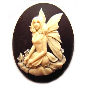 Cameo Cabochon - Acrylic 40x30mm Oval Fairy - Ivory on Black x1