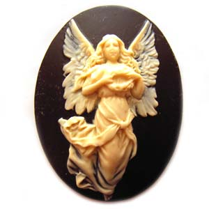 Cameo Cabochon - Acrylic 40x30mm Oval Angel - Ivory on Black x1