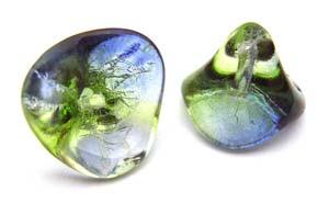 Czech Glass Three Petal Flower Beads 10x11mm Dual Coated Blueberry Green Tea x5