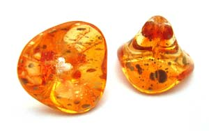 Czech Glass Three Petal Flower Beads 10x11mm Coated Sunshine Dust x5