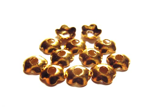 Bead Caps 4mm Gold Brass - Shiny Plain Flower