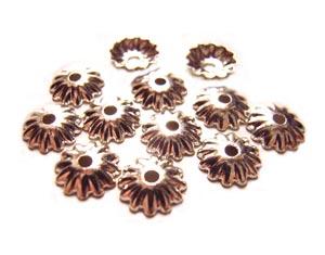 Bead Caps 5.5mm Silver Brass - Embossed Flower