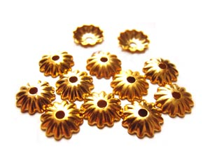 Bead Caps 5.5mm Gold Brass - Embossed Flower