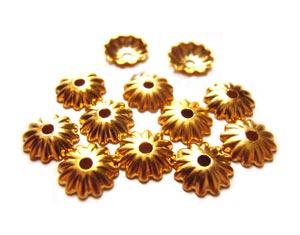 Bead Caps 5.5mm Gold Brass - Embossed Flower