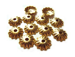 Bead Caps 5.5mm Raw Brass - Embossed Flower 4.7g (100pc)