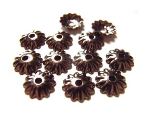 Bead Caps 5.5mm Gunmetal Black Brass - Embossed Flower