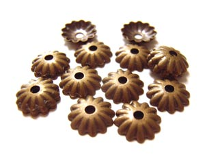 Bead Caps 5.5mm Antiqued Bronze - Boho Gold Brass - Embossed Flower 5.0g (100pc)