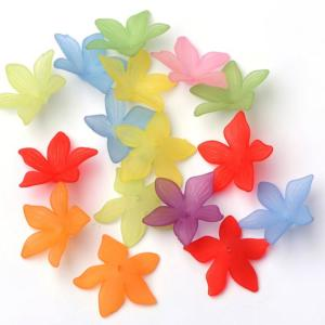 Lucite Flowers 28x28x7mm Lily Frosted Bead 14g Soup Mix