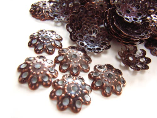 Bead Caps - 10mm Antique Copper Tone - Filigree x100