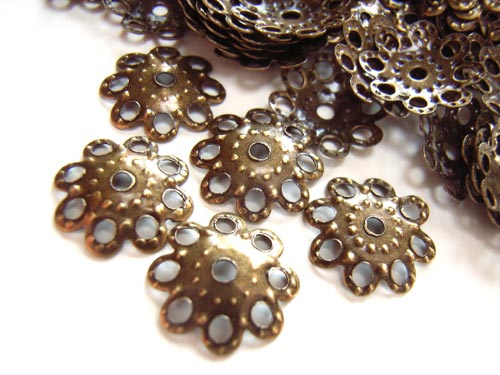 Bead Caps - 10mm Antique Bronze Tone - Filigree x100