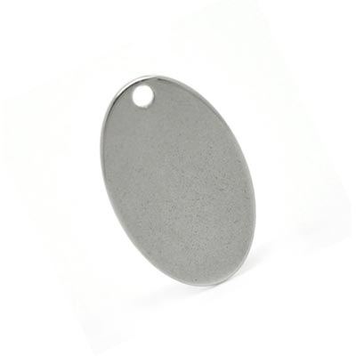 Stainless Steel Oval Tag 17.5x11.5mm 18g Stamping Blank x1