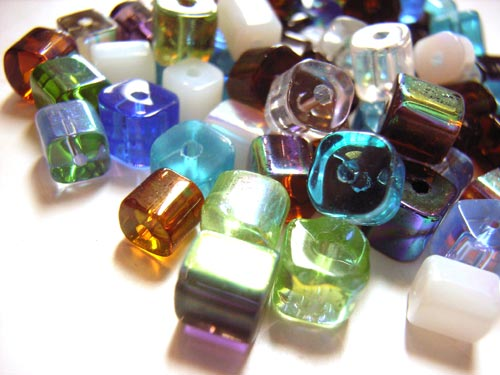 Transparent Glass Beads 4mm Cube - Multi AB Soup Mix 17g (x75 beads)