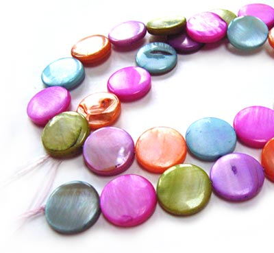 "Shell Coin Button Beads 13mm - Pastel Mix 32 beads per 16"" strand approx"