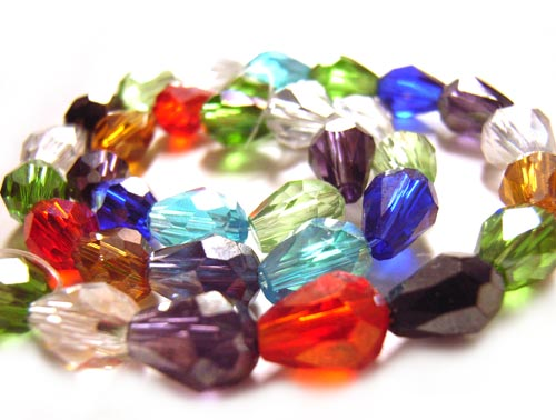 Firepolished Glass Drop Beads 7.5x5.5mm Soup Mix x35