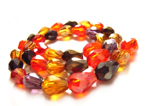 Firepolished Glass Drop Beads 7.5x5.5mm Volcano Mix x35