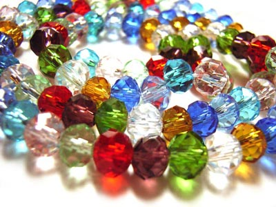 Imperial Crystal Roundelle Beads 6x4mm Soup Mix (100pc approx)