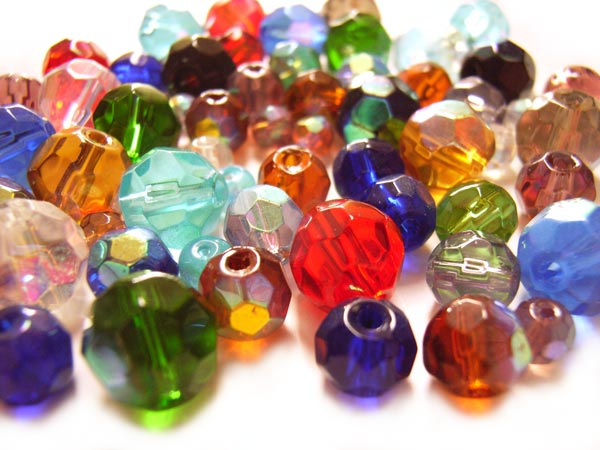 Firepolished Glass Beads Faceted Round Mixed Size ~ Soup Mix x60 approx