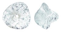 Czech Glass Three Petal Flower Beads 10x11mm Crystal Silver Wash x5