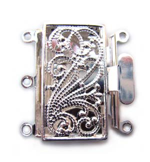 Beadsmith, 3-Strand Silver Plated 22x13mm Filigree Pearl Clasp x1