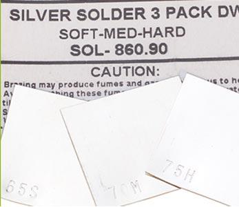 Sheet Solder Silver 1x1 inch (25x25mm) 1 DWT each of Hard, Medium & Soft