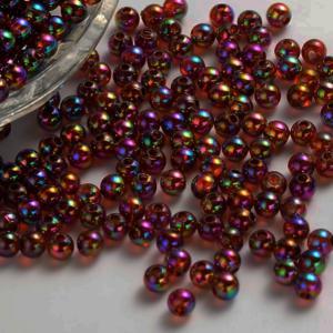 Acrylic Transparent 8mm Round Beads 15g (x60pc) Dark Topaz Iris AB