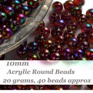 Acrylic Transparent 10mm Round Beads 20g (x40pc) Dark Topaz Iris AB
