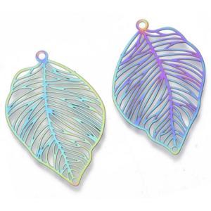 Stainless Steel Rainbow Filigree Skeleton Leaf Pendant 37x25x0.3mm x3pc