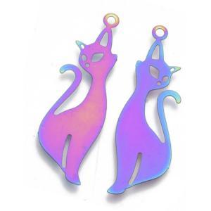 Stainless Steel Rainbow Filigree Slinky Cool Cat Pendant 39.5x12x0.3mm x3pc
