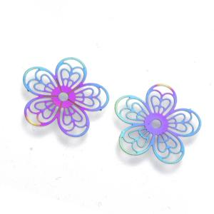 Stainless Steel Rainbow Filigree 5 Petal Flower Charm Pendant Link Connector 18x0.3mm x4pc