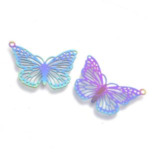 Stainless Steel Rainbow Filigree Butterfly Charm Pendant 18x26x0.3mm x3pc
