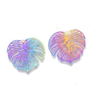 Stainless Steel Rainbow Filigree Skeleton Leaf Pendant 26x26x0.3mm x3pc