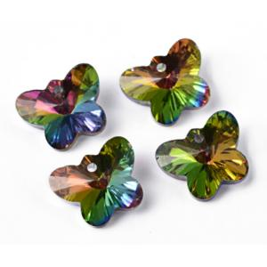 Faceted Austrian Crystal Glass Butterfly Charms 12x15x7mm, Vitrail Silver Foil Backed, x10 pc