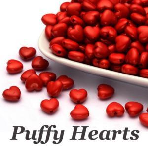 Acrylic Heart Beads Opaque Puffy Hearts, 10x11x6mm, 20g, x50pc, Choose Colour