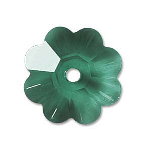Swarovski Crystal Beads 8mm Margarita Flower - Emerald x1
