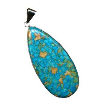Turquoise Howlite Mosaic Teardrop Pendant 55x26mm