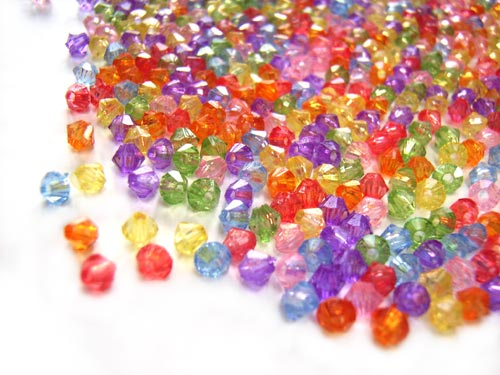 Acrylic Transparent 3mm Faceted Bicone Beads 5g (x500pc) Soup Mix