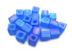 Miyuki 4mm Square Cube Beads Transparent Frosted Rainbow Sapphire