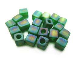 Miyuki 4mm Square Cube Beads Transparent Frosted Rainbow Green