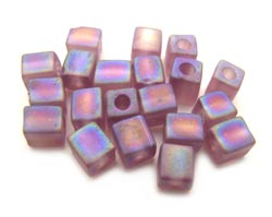 Miyuki 4mm Square Cube Beads Transparent Frosted Rainbow Lilac