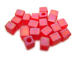 Miyuki 4mm Square Cube Beads Transparent Frosted Rainbow Red
