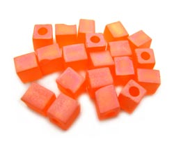 Miyuki 4mm Square Cube Beads Transparent Frosted Rainbow Orange