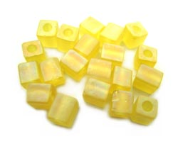 Miyuki 4mm Square Cube Beads Transparent Frosted Rainbow Yellow