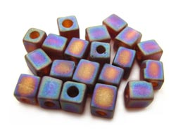 Miyuki 4mm Square Cube Beads Transparent Frosted Rainbow Dark Amber