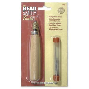 Beadsmith 4-Piece Bead Reamer Set with Wooden Handle x1