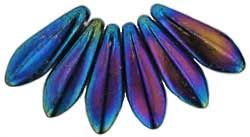 Czech Glass Dagger Drop Beads ~ 16/5mm Iris Blue x10