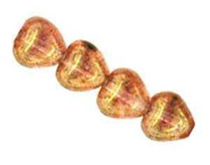 Czech Glass Puffy Heart Beads 6mm Lustre Rose Gold Topaz per Strand of x50 approx