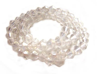 Fire Polished Transparent Glass Beads 4mm Bicone - Crystal Lustre x80 beads