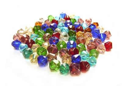 Fire Polished Transparent Glass Beads 4mm Bicone - Soup Mix 6.9 grams (x80 beads)