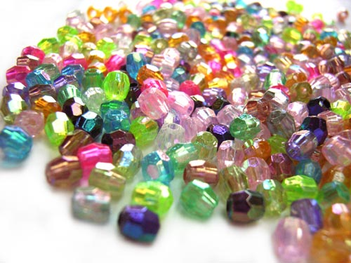 Acrylic Transparent 4mm Faceted Round Beads 13.5g (x450pc) AB Soup Mix